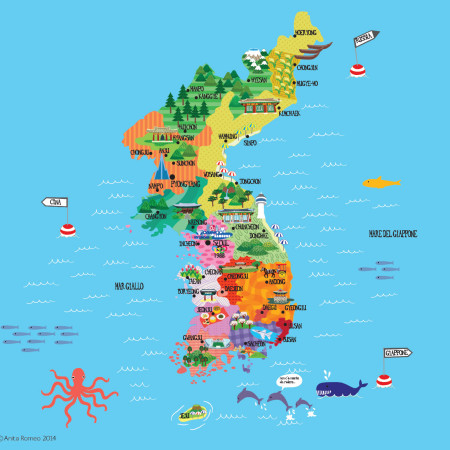 Korea map for the magazine cover of Dissensi & Discordanze, issue #2 2014